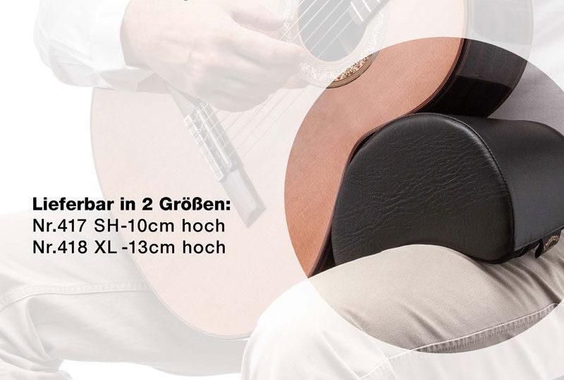 Dynarette - das Gitarrenstützkissen. Komfortable Spielhaltung und beide Füße bleiben auf dem Boden. Verhindert Haltungsschäden.